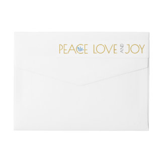 Trendy gold Peace, Love, Joy and dove Christmas ラップアラウンドラベル