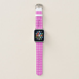 Trendy Hot Pink Gingham Add Your Name Apple Watchバンド