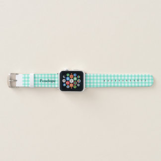 Trendy Mint Green Gingham Add Your Name Apple Watchバンド
