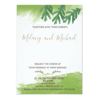 Trendy modern Greenery watercolor autumn カード