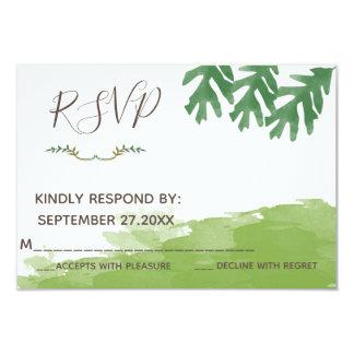 Trendy modern Greenery watercolor wedding RSPV カード