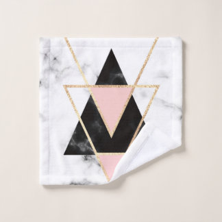 triangles,gold,silver,white,marbles,modern,trendy, ウォッシュタオル