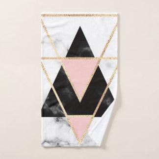 triangles,gold,silver,white,marbles,modern,trendy, ハンドタオル