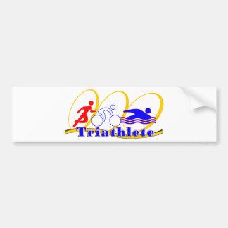 Triathleteの水泳の操業バイク バンパーステッカー