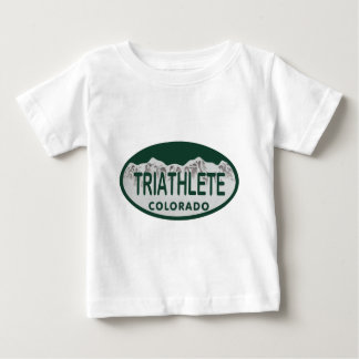 Triathlete免許証の楕円形 ベビーTシャツ