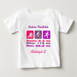 Triathlete Swim Bike Run女性ピンクの藤色の紫色 ベビーTシャツ