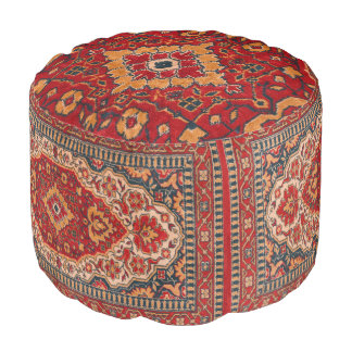 Tribal Geometric Rug Design red & Beige プーフ