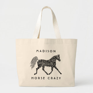 Tribal Horse Trotting Horse Crazy Carryall Fun ラージトートバッグ