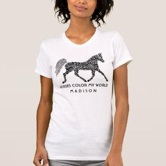 Tribal Horse Trotting Optional Name Horse Lover Tシャツ
