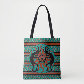 Tribal Kokopelli Southwest Turquoise トートバッグ