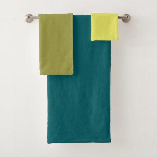 Tribbleのブロック-黄色、ライム、緑-タオルセット バスタオルセット