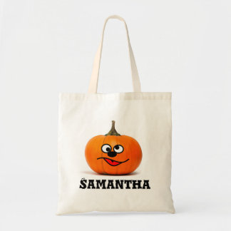 Trick or treat personalised pumpkin candy tote bag トートバッグ
