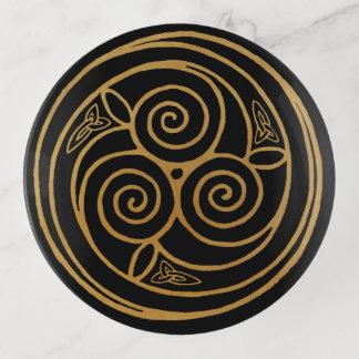Triple Celtic Knot Swirl Mandala トリンケットトレー