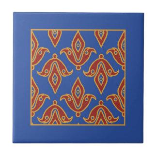 Trivet、バーガンディ、青、Gold Fleur de Lys Pattern タイル