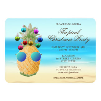 Tropical Christmas Pineapple | Party Invite カード