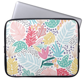 Tropical Collage Cutout Shapes Laptop Sleeve ラップトップスリーブ
