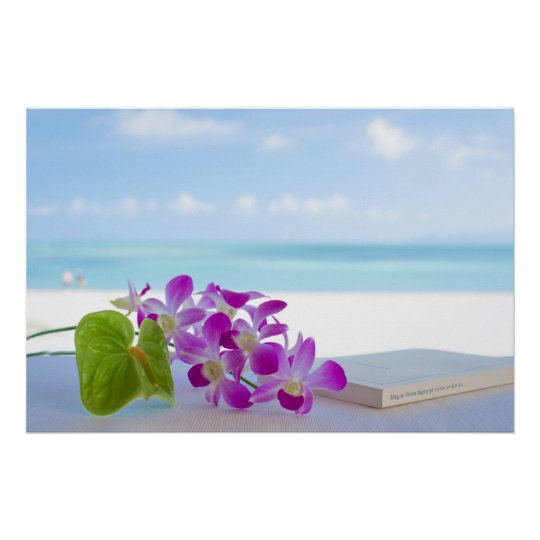 Tropical flower by the beach ポスター