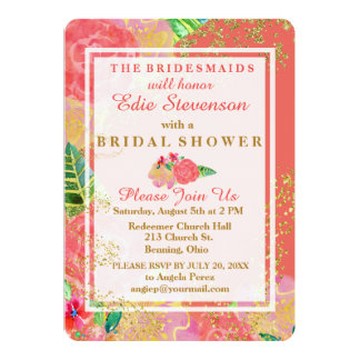 Tropical Glittery Watercolor Bridal Shower カード