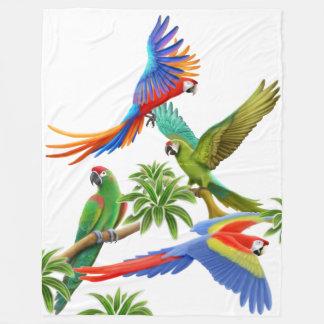 Tropical Macaw Parrots Fleece Blanket フリースブランケット