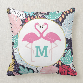 Tropical Pattern Flamingos Monogram Cushion クッション