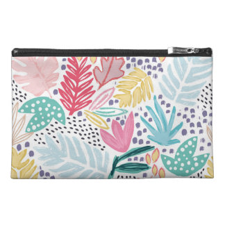 Tropical Shapes Collage Pattern Cosmetics Bag トラベルアクセサリーバッグ