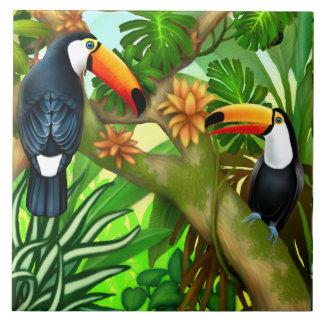 Tropical Toucan Jungle Ceramic Tile タイル