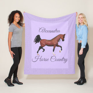 Trotting Bay Arabian Horse Purple Horse Country フリースブランケット