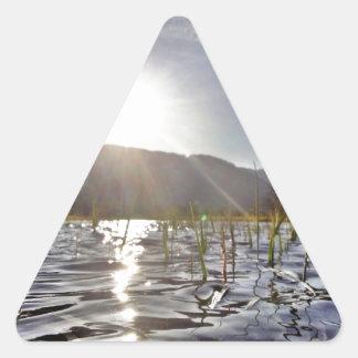 trout湖のPeacefull水 三角形シール