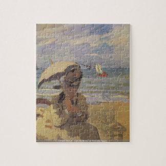 Trouvilleのビーチのクロード・モネ-カミーユMonet ジグソーパズル