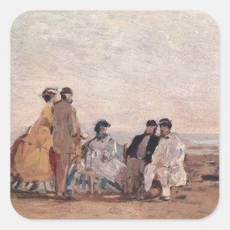 Trouvilleのビーチ、c.1865 スクエアシール