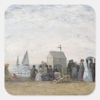 Trouville 1867年のビーチ スクエアシール