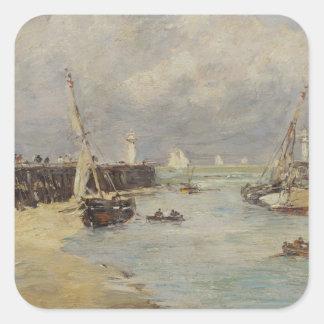 Trouville 1895年の干潮(パネルの油) スクエアシール