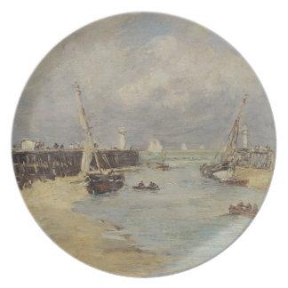 Trouville 1895年の干潮(パネルの油) プレート