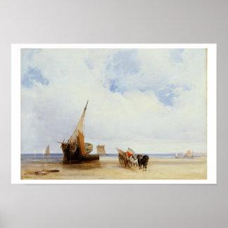 Trouville、c.1825の近くの浜に引き上げられた容器そしてワゴン ポスター