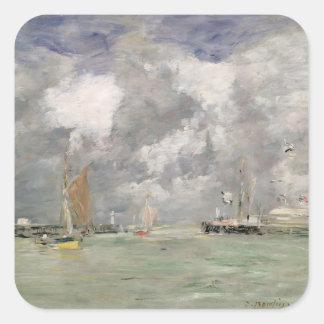 Trouville、c.1892-96 (パネルの油)の満潮 スクエアシール