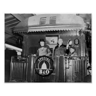 Truman and Churchill On Back Of A Train ポスター