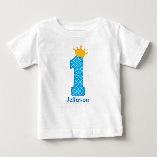 Tshirt Personalized最初誕生日の王子 ベビーTシャツ