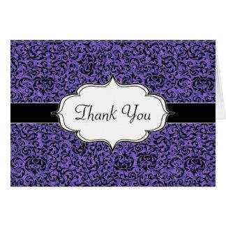 Tudorのエレガントな紫色の花のダマスク織 カード