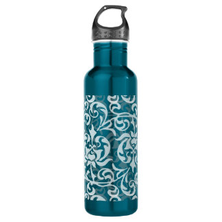 Tudorのチューリップのダマスク織の孔雀青の優雅 ウォーターボトル