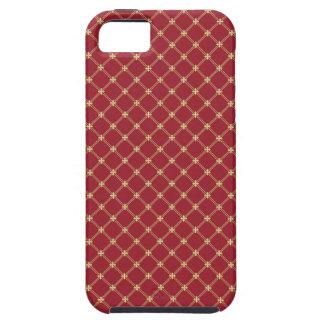Tudorの赤および金ゴールドの十字形パターン iPhone SE/5/5s ケース