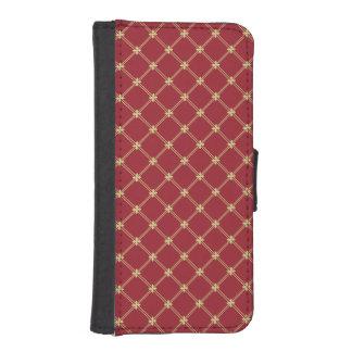 Tudorの赤および金ゴールドパターン iPhoneSE/5/5sウォレットケース