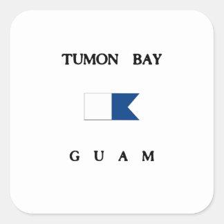 Tumon湾のグアムのアルファ飛び込みの旗 スクエアシール