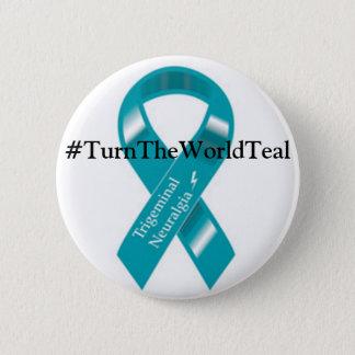 #TurnTheWorldTealボタン 5.7cm 丸型バッジ