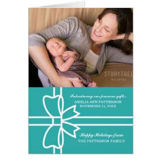 Turquoise Gifted Holiday Photo Greeting Card カード