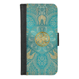 Turquoise Gold Celtic Mandala iPhone Wallet Case iPhone 8/7 ウォレットケース