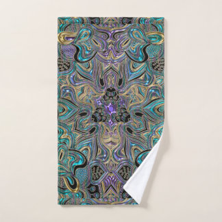 Turquoise Gold Purple and Black Mandala Towel Set バスタオルセット