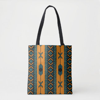 Turquoise Orange Southwest Tribal Aztec Pattern トートバッグ