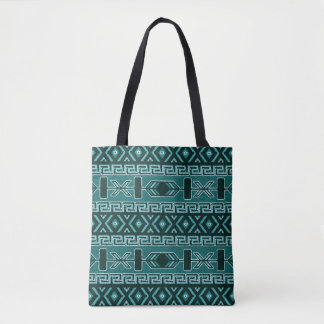 Turquoise  Southwest Tribal Aztec Pattern トートバッグ