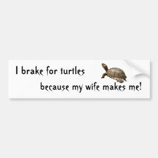 turtle1、私はカメのために、ので私の妻m…ブレーキがかかります バンパーステッカー
