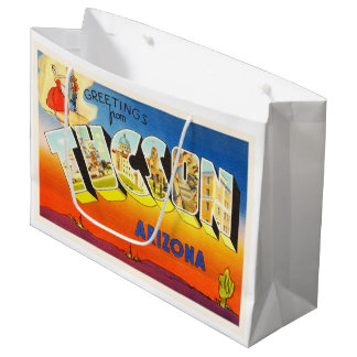 TusconアリゾナAZの古いヴィンテージ旅行記念品 ラージペーパーバッグ